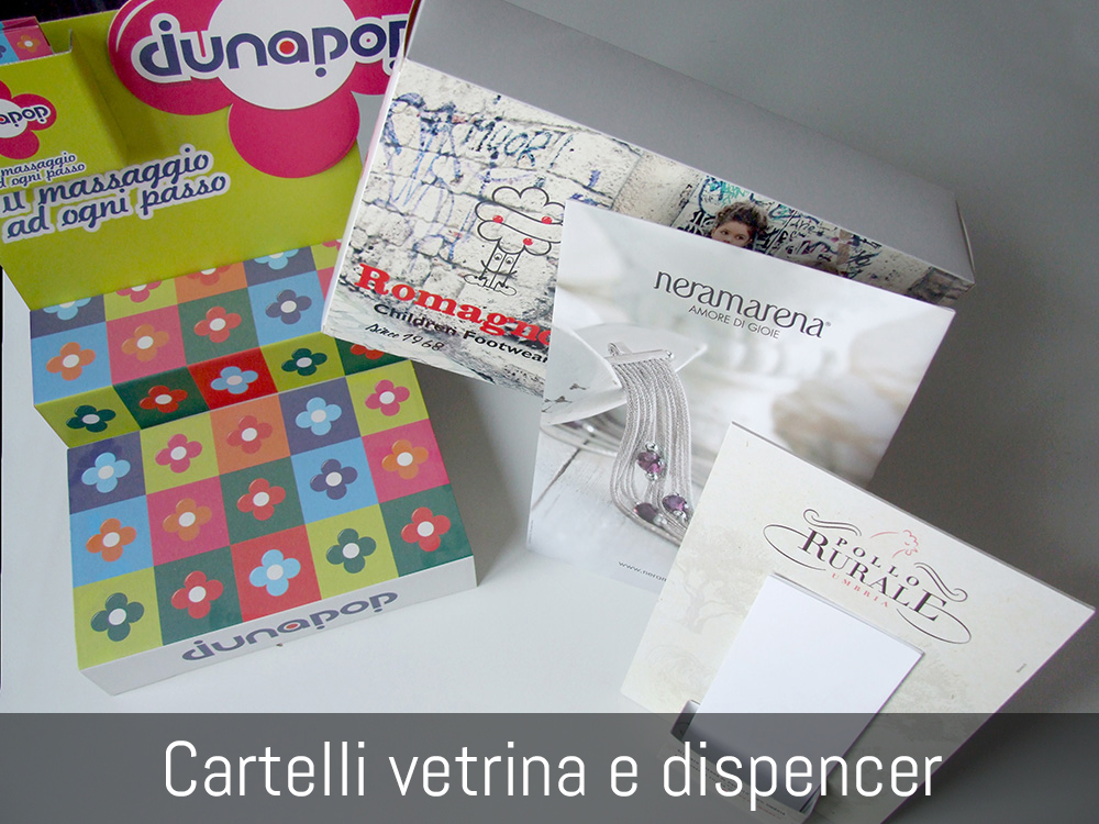 Cartelli vetrina e dispenser